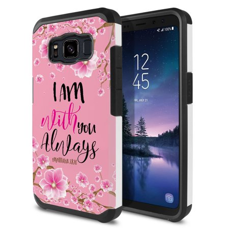 FINCIBO Dual Layer Hybrid Case Hard Plastic TPU Slim Back Cover for Samsung Galaxy S8 Active, Matthew 28:20 Falling Baby Pink Cherry Flower Plastic Back Stand Case Cover