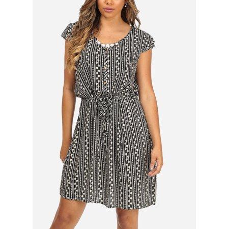 Womens Juniors Floral Print Black Faux Button Up Drawstring Waist Above Knee Dress 41071D