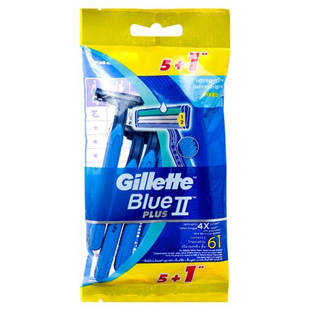 High Quality GILLETTE BLUE 2 PLUS DISPOSABLE RAZORS, 6 - Plus 2 Cartridges