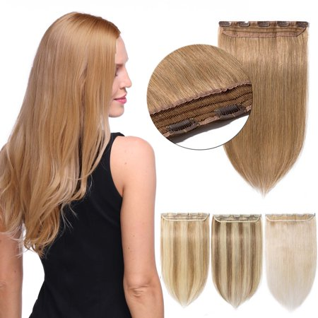 S-noilite 100% Remy Human 3/4 Full Head 1 Piece 5 Clips Clip in Remy Human Hair Extensions Silky Straight Blond & bleach