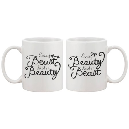 Every Beauty Needs a Beast Romantic Matching Coffee Mugs - Perfect Anniversary and Valentines Day Gift for Couples