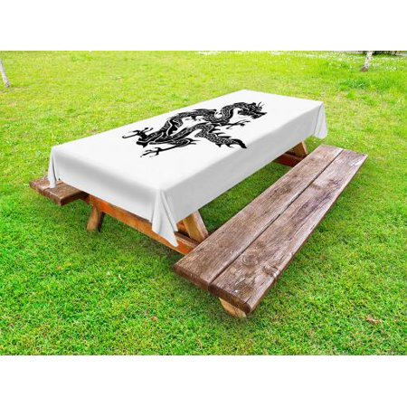 Japanese Dragon Outdoor Tablecloth, Cultural Zodiac Icon Monochrome Graphic  Style Eastern Dragon Claws Scales, Decorative Washable Fabric Picnic