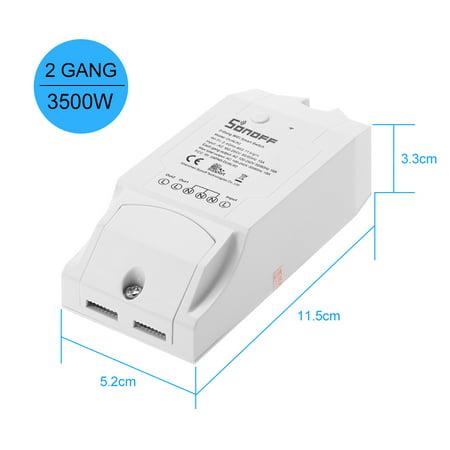 SONOFF Switch double WIFI Smart ITEAD à deux canaux Fonctionne avec Amazon Alexa & pour Google Home / Commutateur de télécommande sans fil Nest Universal Module d'automatisation 100-240V CA Sm - image 2 of 7