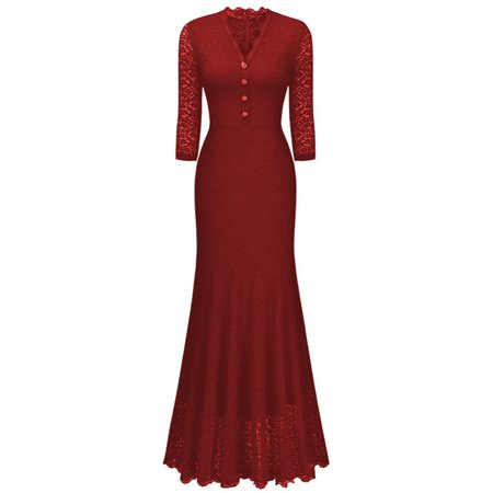 Women Maxi Fishtail Dress Long Formal Evening Party Wedding Vintage Lace Elegant Ladies Dresses