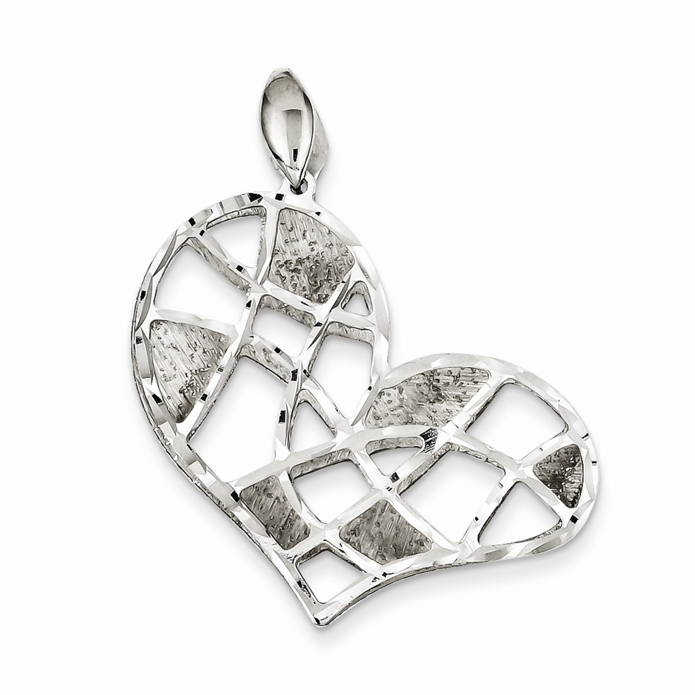 Sterling Silver Brushed & D/C Textured Heart Pendant