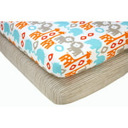 Sumersault Ikat Animals Crib Sheets, 2 Pack