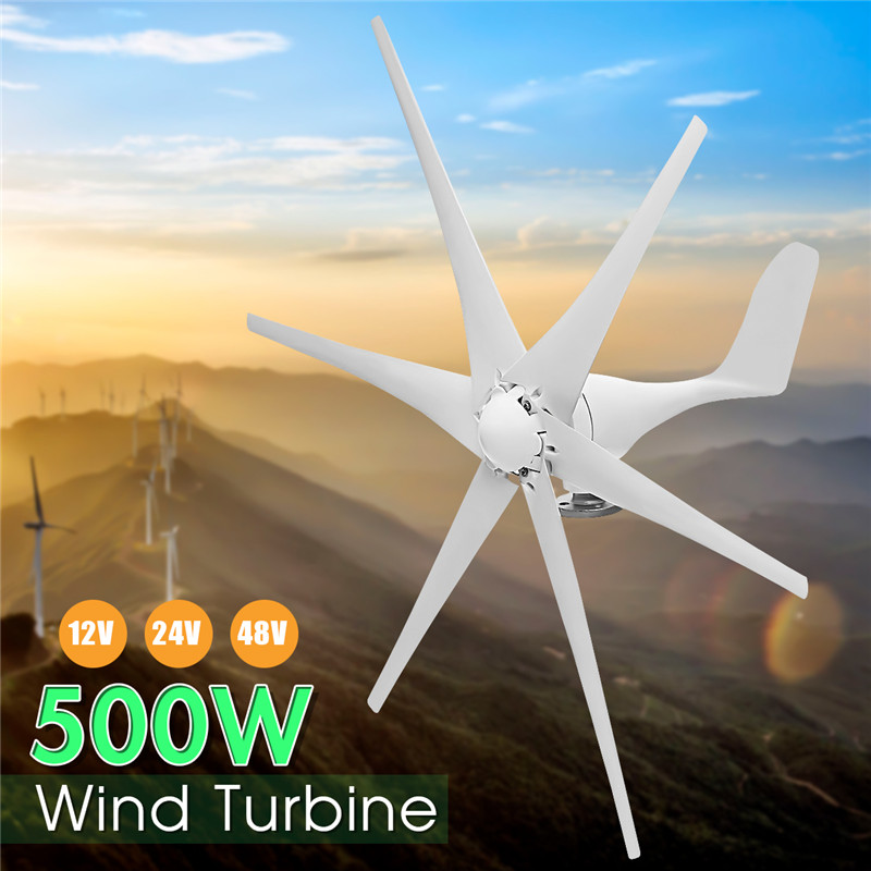 Wind Turbine Generator Max 500W DC 12V/24V/48V 6 Blade For Home/Boat