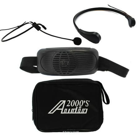 Audio 2000 AWP6202B/TR15 Black Waist-band Battery Powered Amplifier PA System w/Neck Mic - Microphone Pa Mono Amplifier