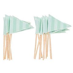 Mint Striped Flag Cupcake Picks Party Supplies 24 Ct