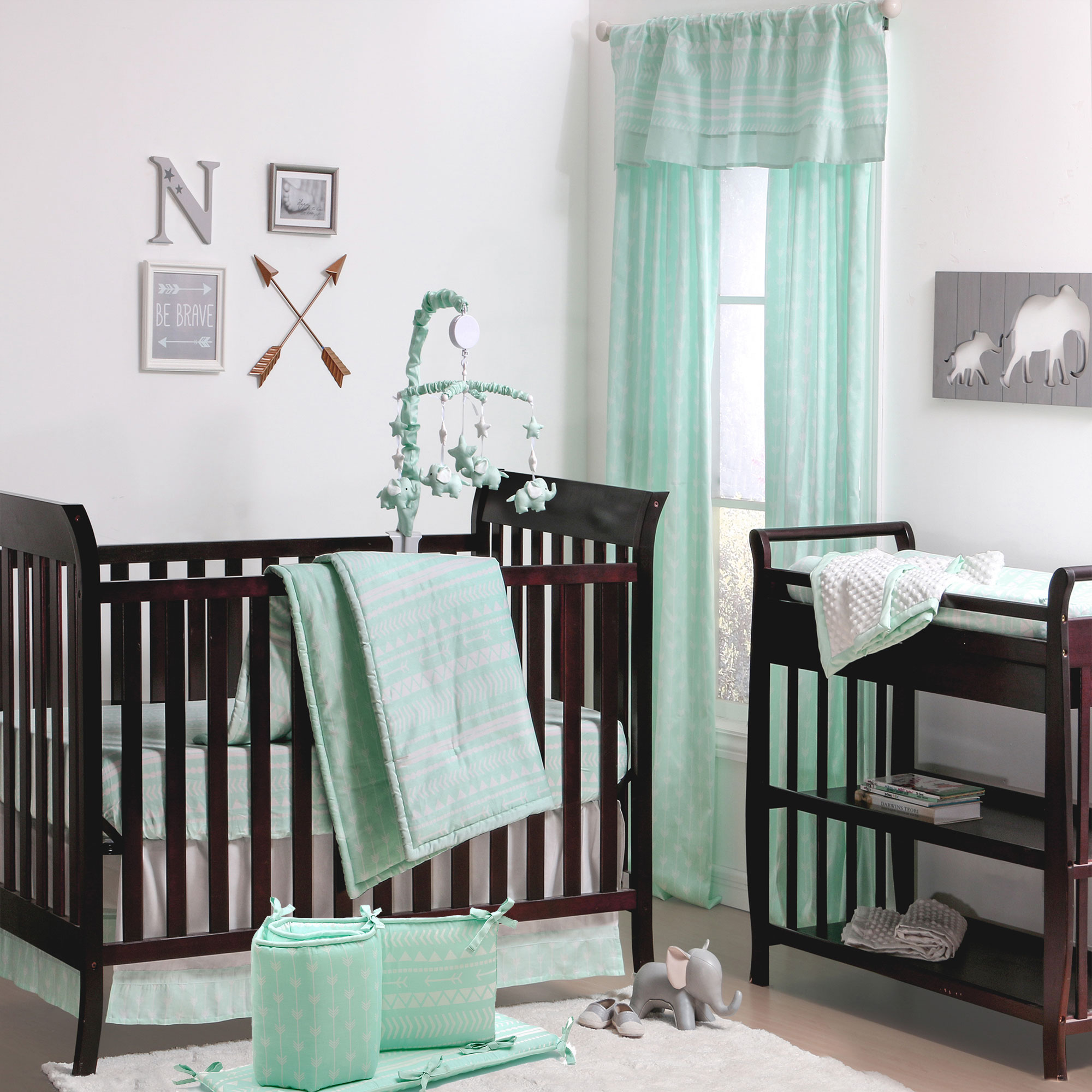The Peanut Shell 5 Piece Baby Crib Bedding Set - Mint Green Native American Tribal Geometric Design - 100% Cotton Quilt, Bumper, Dust Ruffle, Fitted Sheet, and Mobile
