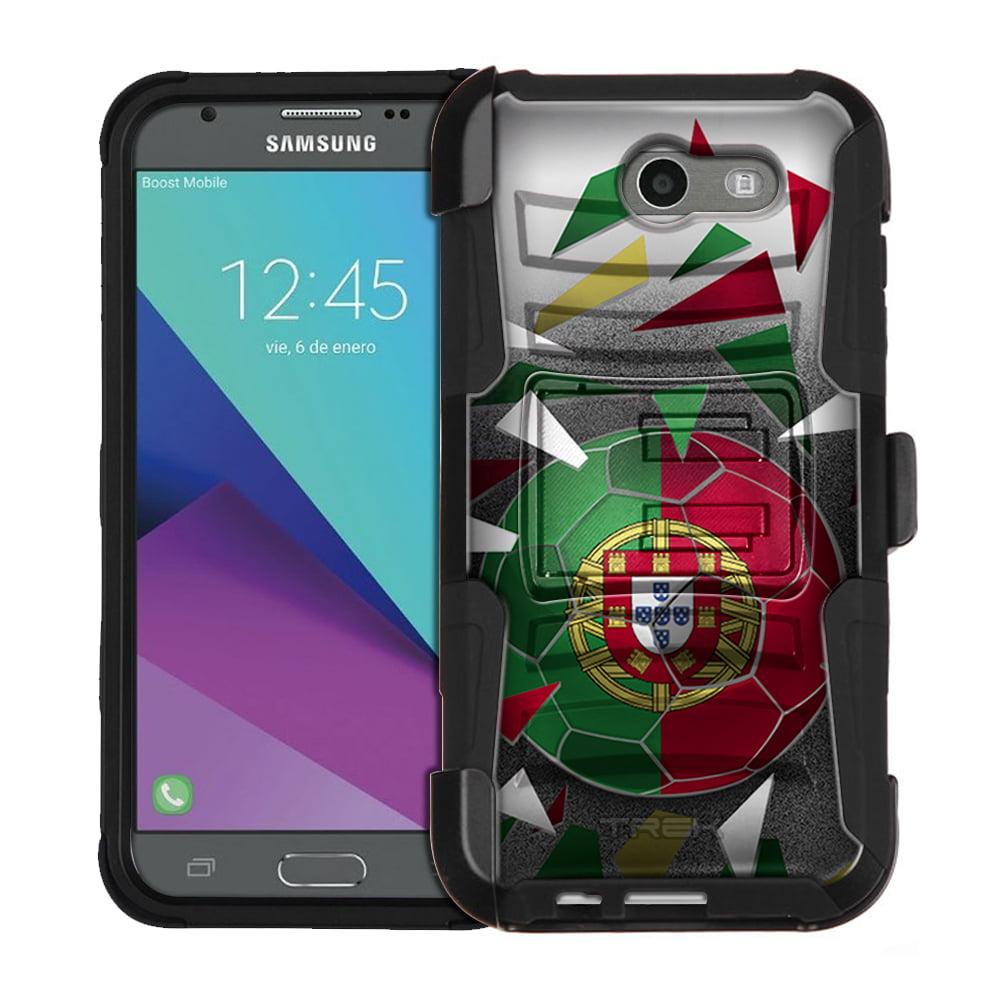 Samsung Galaxy Amp Prime 2 Armor Hybrid Case Soccer Ball Portugal Flag by Trek Media Group