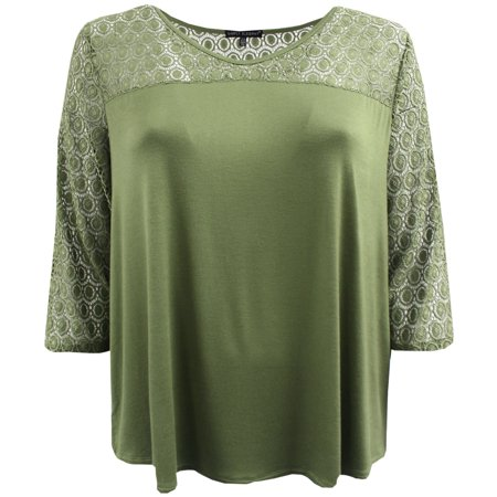 Women's Plus Size Soft Solid Lace Sleeves Fashion Blouse Tee Shirt Knit Top Green 2X G170.26L BNY Corner - 50's Fashion Ideas