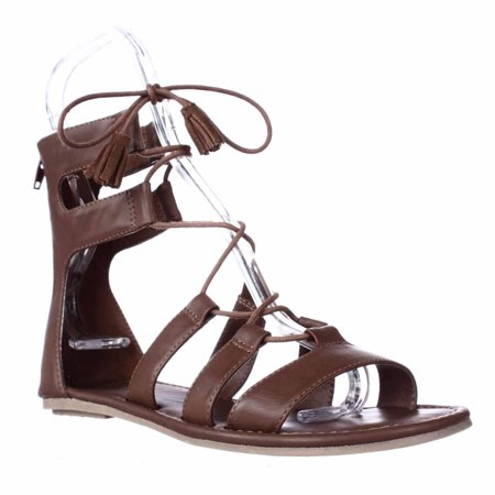 Womens MIA Ozie Tassel Lace Up Gladiator Sandals - Luggage