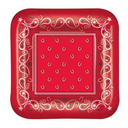 Bandana Plates (Pack of 96 Disposable Red Paisley-Designed Bandana Square Dinner Plates)