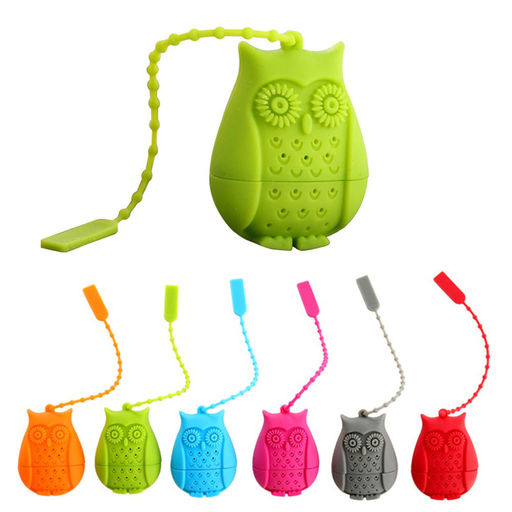 Directer Cartoon Owl Silicone Loose Tea Infuser Filter Strainer Novelty Perforated Gift