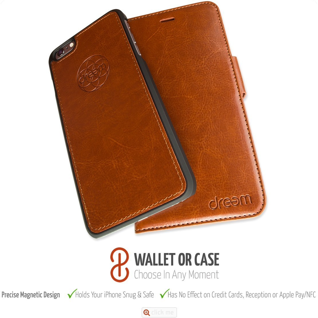innovative design bad2c 36ba4 Dreem iPhone 7 PLUS Wallet Case with Detachable SlimCase, Fibonacci ...