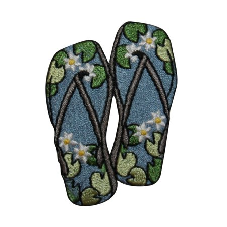 022cae9cd0918b ID 7362 Lily Pad Sandals Patch Flip Flop Shoe Floral Embroidered IronOn  Applique - Walmart.com