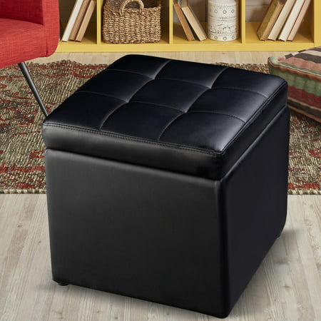 Costway 16''Cube Ottoman Pouffe Storage Box Lounge Seat Footstools with Hinge Top - Leatherette Footstool