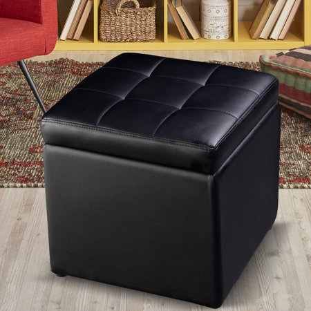 Costway 16''Cube Ottoman Pouffe Storage Box Lounge Seat Footstools with Hinge Top black