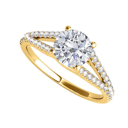 Split Shank Design CZ Ring in 18K Yellow Gold Vermeil - image 1 of 2