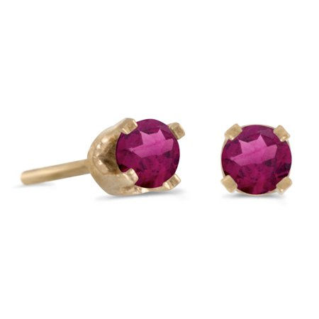 14k Petite Yellow Gold Round Rhodolite Garnet Stud Earrings