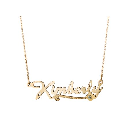 Personalized 10kt Gold Script Name Necklace with Diamond-Cut Heart Tail and Birthstone