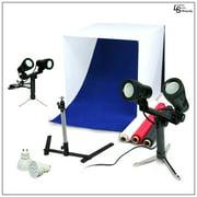 "24"" LED Folding Tabletop Photo Tent Cube Box Lighting Kit with 2x Dual Head LED, 1x Tripod, 2x Extra Bulbs by Loadstone Studio WMLS0054"
