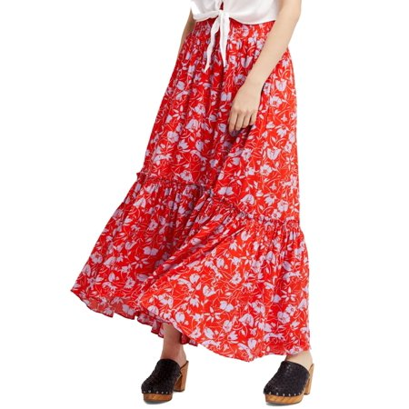 621b89de1 Free People NEW Red Women's Large L Way Of The Wind Print Maxi Skirt ...