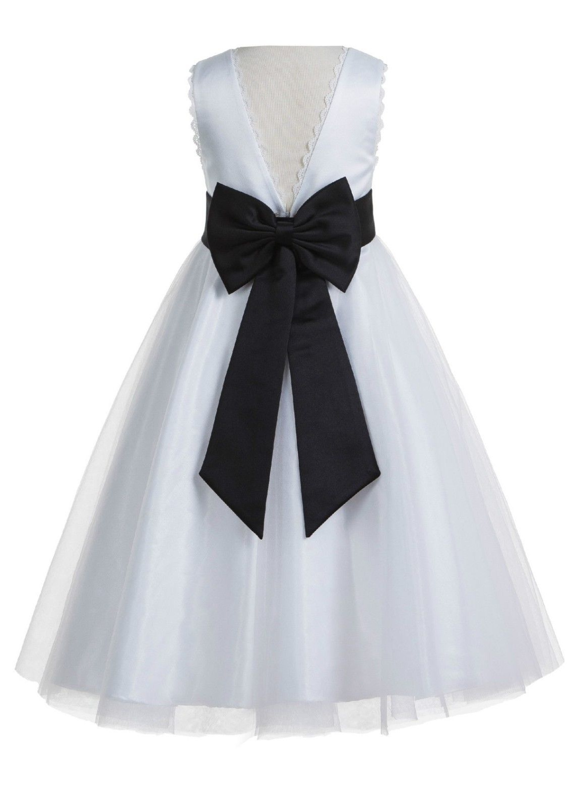 EkidsBridal V-Back Lace Edge White Flower Girl Dresses Silver Baptism Dress Birthday Girl Dress Ball Gown Communion Dresses 183T