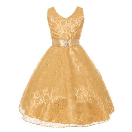 Little Girls Gold Lace Overlay Satin Brooch Sash Flower Girl Dress 4-6