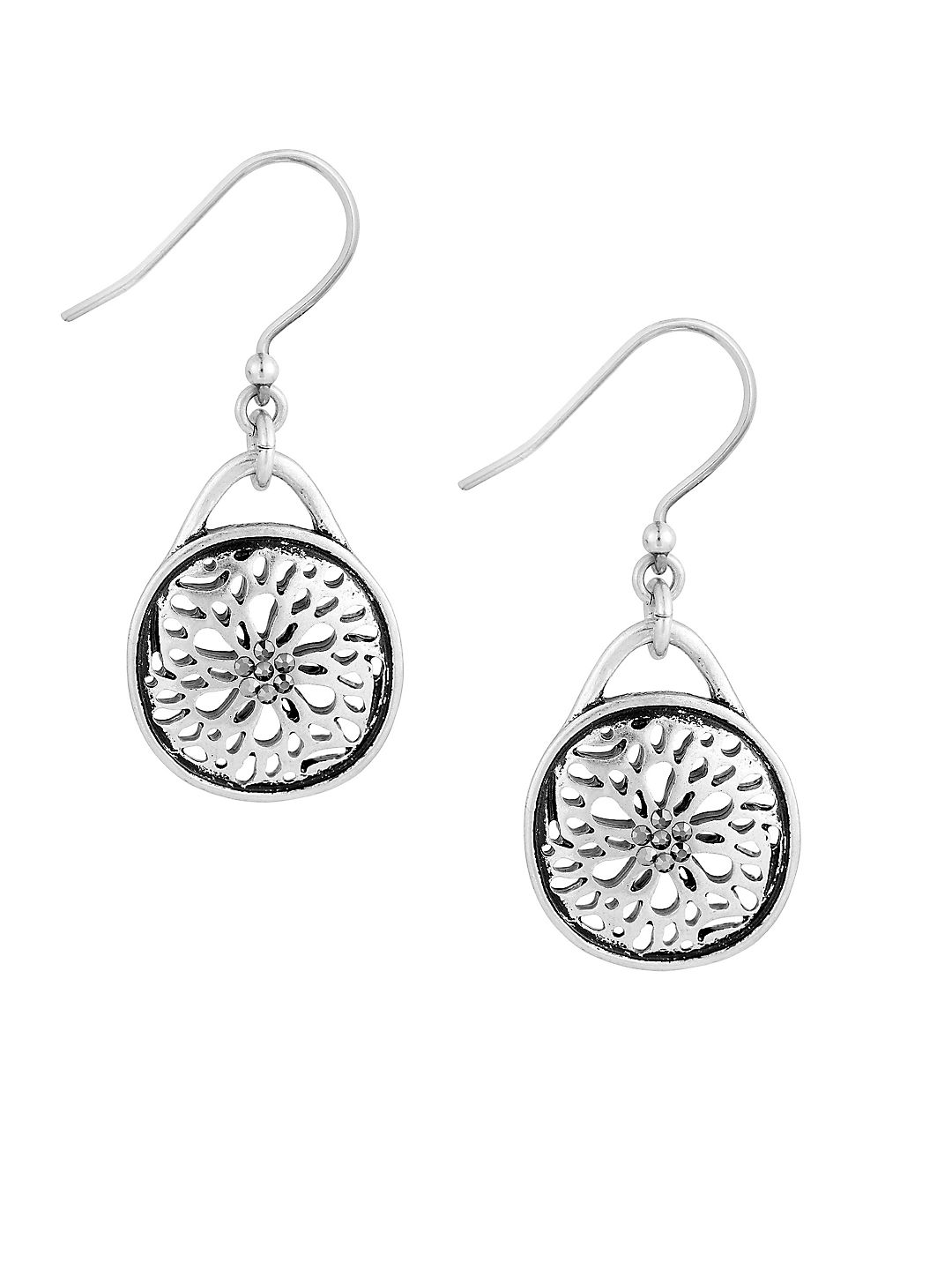 Pave Holiday Luxe Silvertone Sugar Plum Drop Earrings