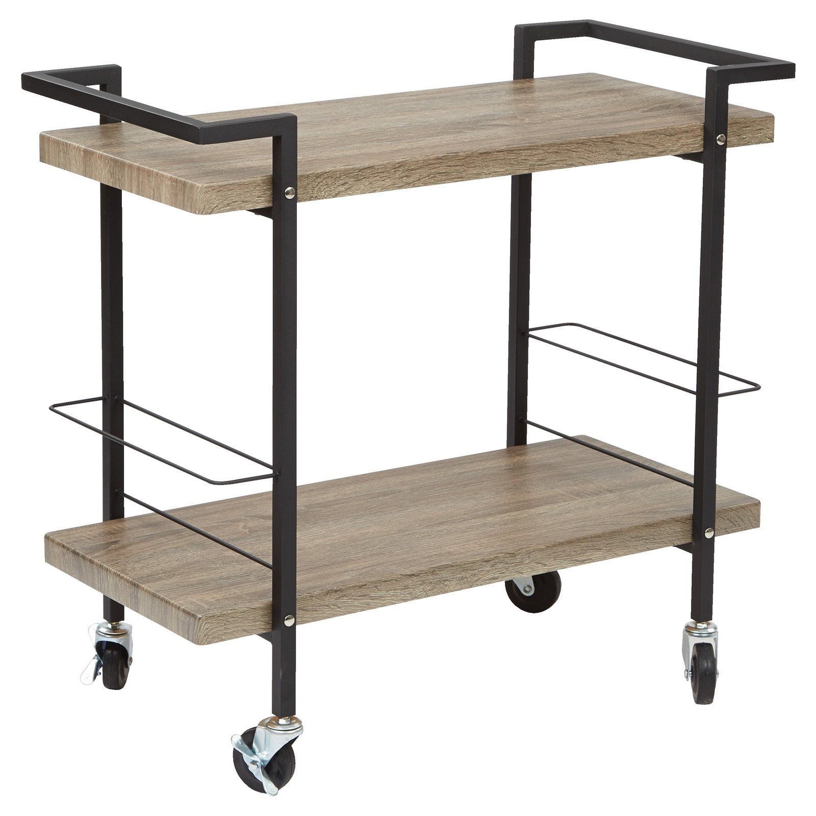 Maxwell Serving Cart, Ash Veneer Finish, Black Powder Coated Steel Frame