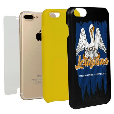 Louisiana Torn State Flag Hybrid Case for iPhone 7 Plus / 8 Plus (Louisiana Guard Dog Atv)