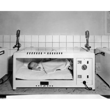 Baby sleeping in an incubator Canvas Art - (18 x 24)