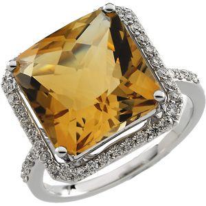 Genuine Citrine & Diamond Ring Size 7 by Bonyak Jewelry