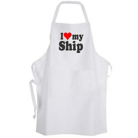 Aprons365 - I Love my Ship – Apron- Boat Yacht Ocean Sea Captain - Love Boat Captian