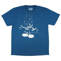 Disney Men's Mickey Mouse Excited Outline T-Shirt (Teal, Large)
