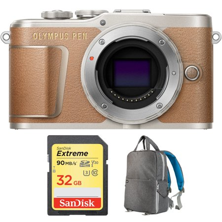 Extreme Gear - Olympus PEN E-PL9 16.1 MP Wi-Fi 4K Mirrorless Camera Body Honey Brown (V205090NU000) with Sandisk 32GB Extreme SD Memory UHS-I Card & Deco Gear Large Photo/Video Backpac Grey