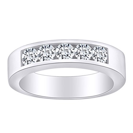 1/2 Carat Round White Natural Diamond Five Stone Anniversary Wedding Band Ring 14k Solid White Gold (0.50 Cttw) Ring Size-5