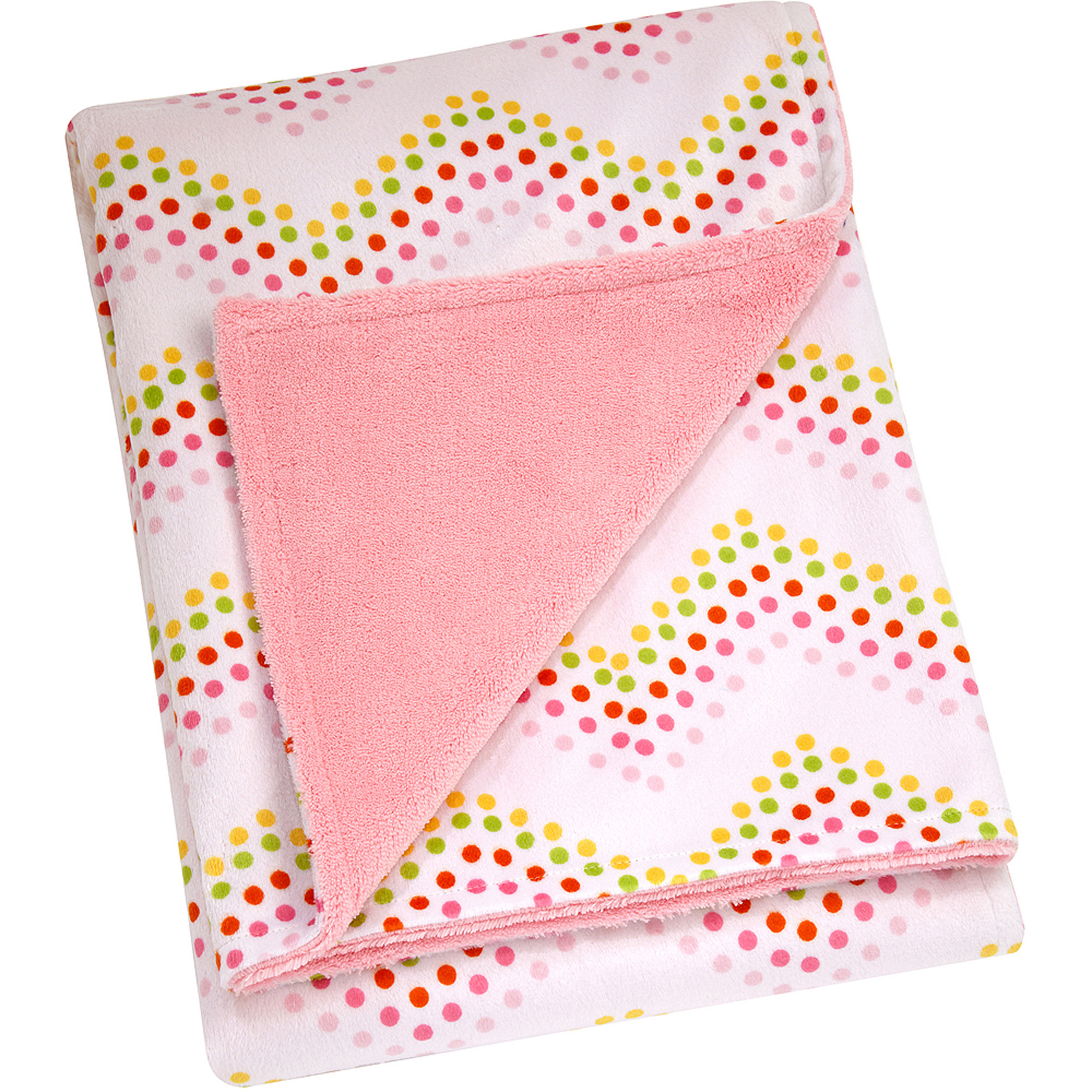 Little Bedding by Nojo Floral Fusion Printed Velboa Blanket, Chevron Dot, Girl