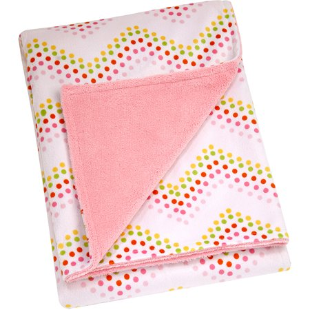 Little Bedding By Nojo Floral Fusion Printed Velboa Blanket  Chevron Dot  Girl