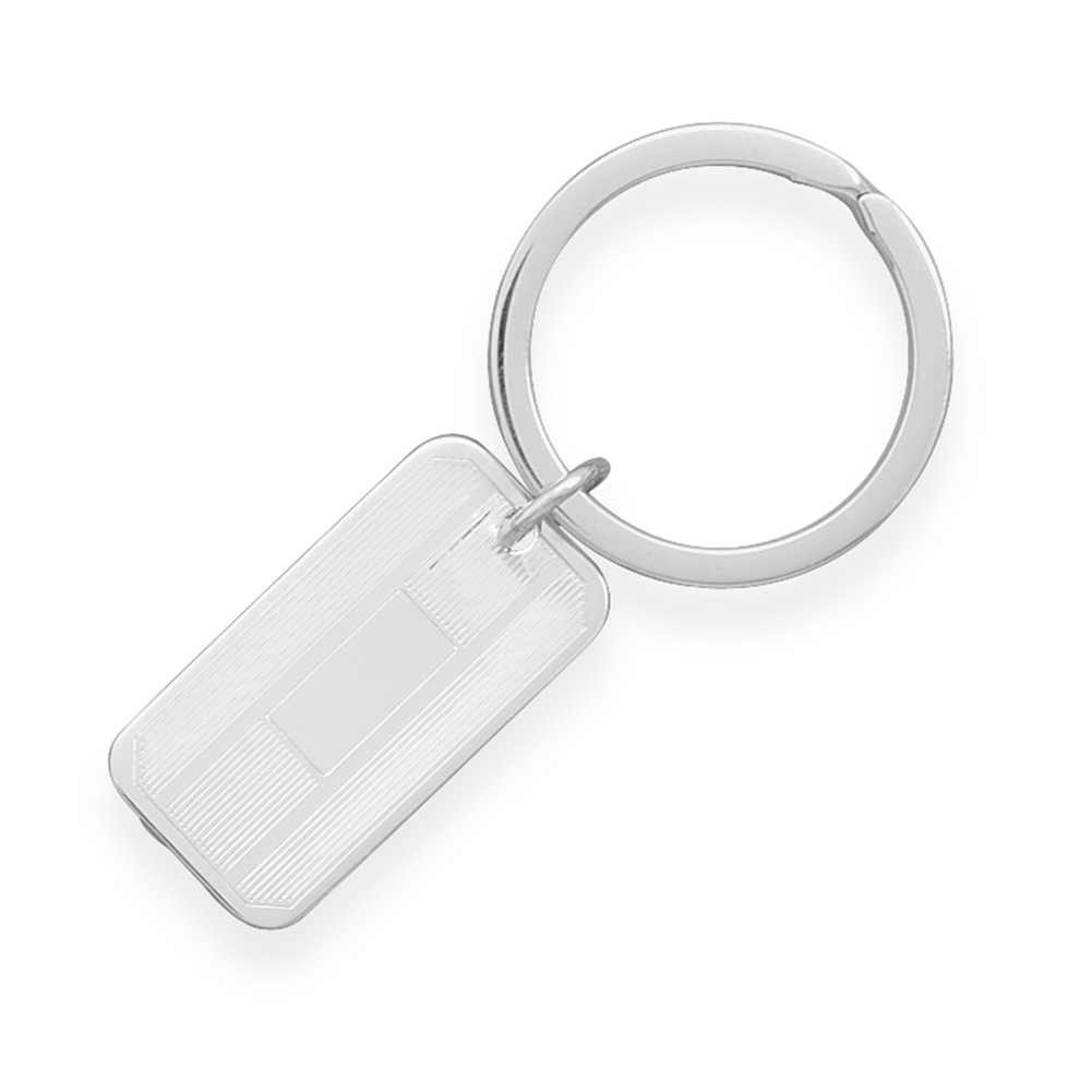 Executive Key Ring with Rectangle Tag Sterling Silver Engraveable by unknown