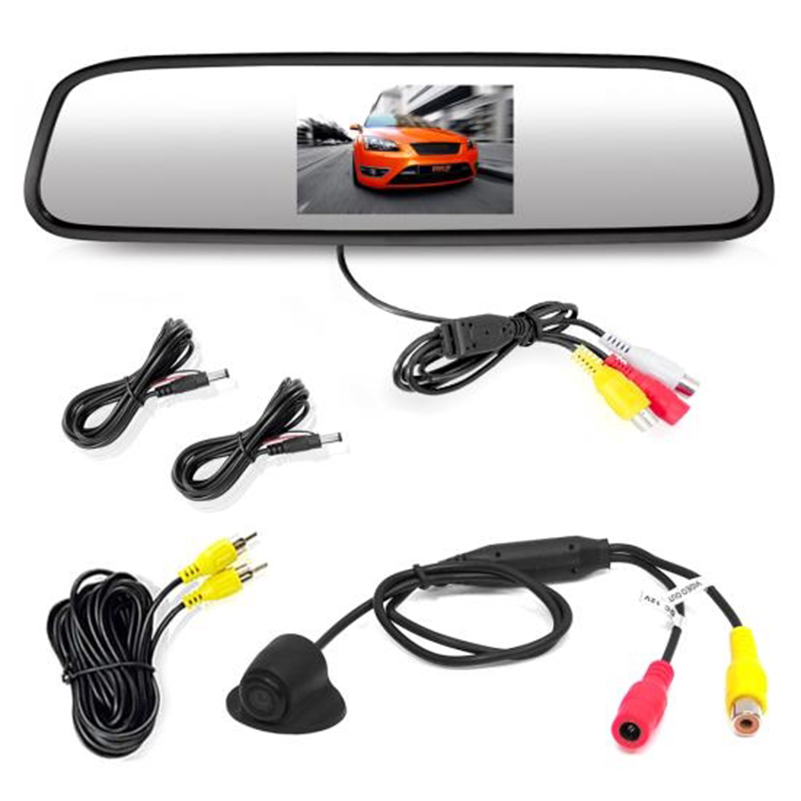 "Rearview Backup Camera & Mirror Monitor, Night Vision Cam, 4.3"" Screen, Distance Scale Lines,"
