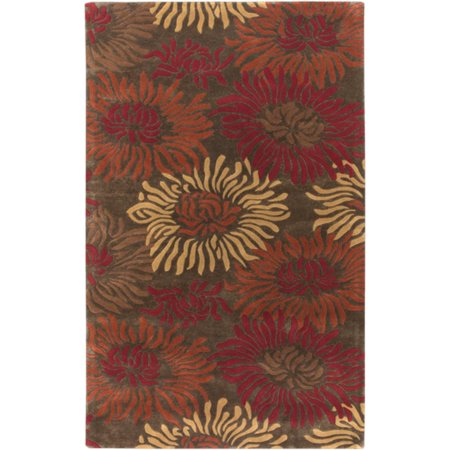 8' x 11' Flowers From A Dream Cinnamon Spice and Russet Wool Area Throw - Cinnamon Flowers