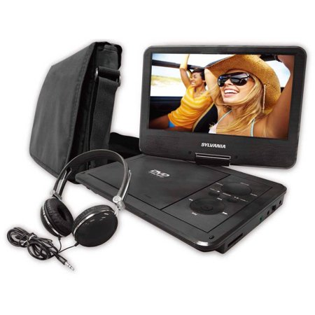 Sylvania SDVD9060 9″ Swivel Screen Portable DVD Player with Deluxe Carry Bag and Matching Headphones, Black