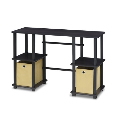 Furinno Turn-N-Tube Computer Desk with Storage Bins, 17072EX/BK ()