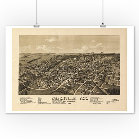 Greenville, Texas - Panoramic Map (9x12 Art Print, Wall Decor Travel Poster) - Home Decor Greenville Sc