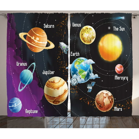 Outer Space Decor Curtains 2 Panels Set  Solar System Of Planets Milk Way  Neptune Venus. Outer Space Decor Curtains 2 Panels Set  Solar System Of Planets