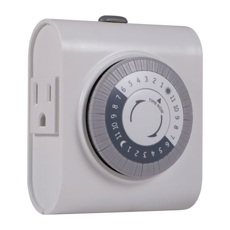 GE 24-Hour Heavy Duty Indoor Plug-In Timer, 2-Outlets, 15075