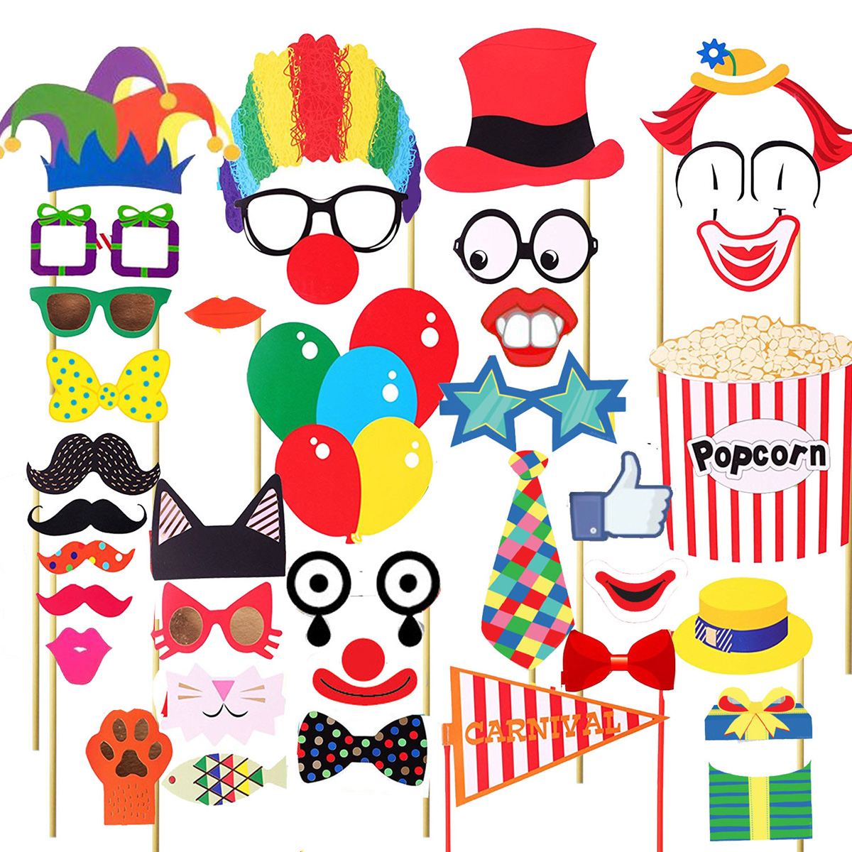 Funny Photo Booth Props Circus Clown Photo Props for Wedding Birthday Carnival Bachelorette Dress-up Acessories, 36PCS Pack